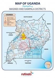 Rutindo School Map of Uganda with highlight of Masindi